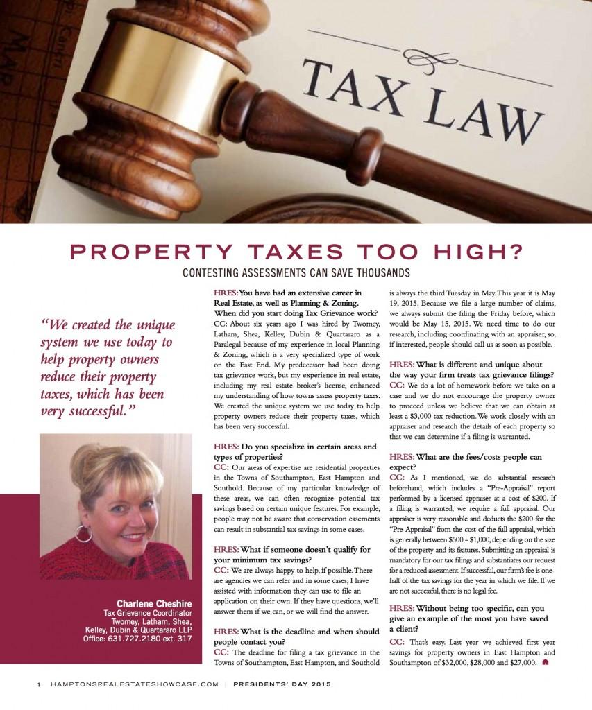 Tax Grievance-Hamptons Real Estate Showcase