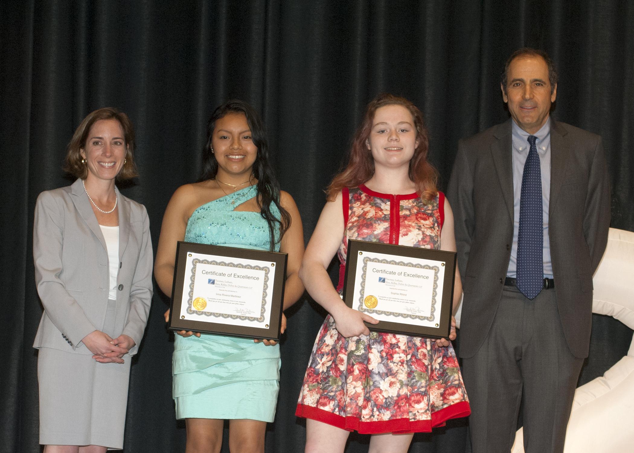 Southampton high school scholarship recipients, David Dubin and Alexandra Halsey-Storch