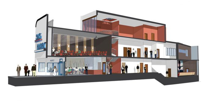 Sag harbor movie theater three story interior plans
