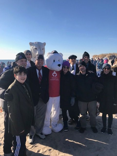 twomey latham group with polar bear mascot polar bear plunge 2018