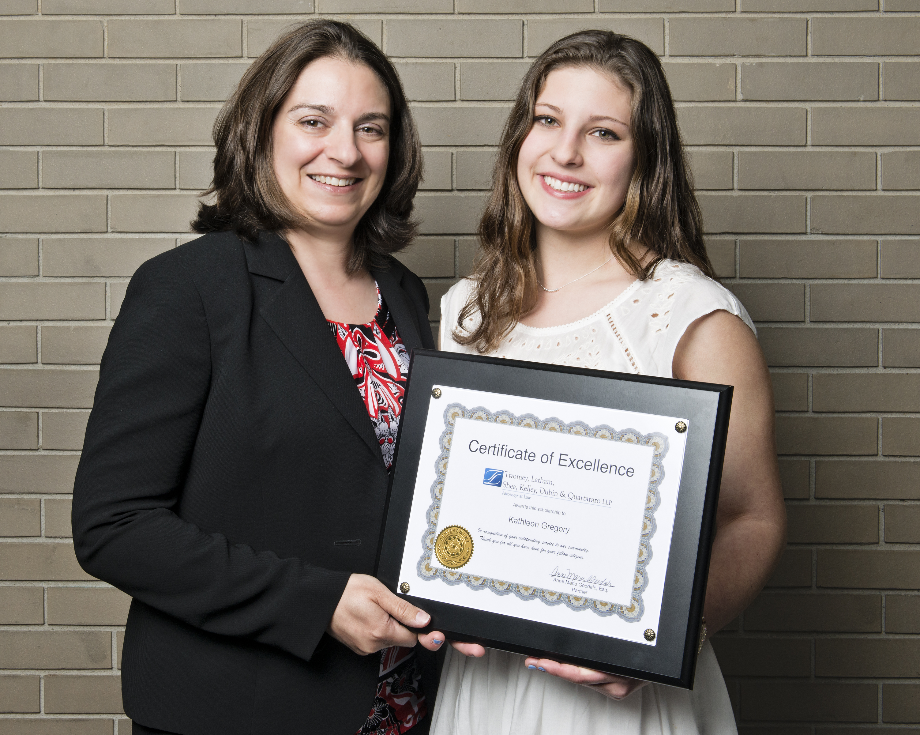Riverhead high school scholarship recipient Kathleen Gregory with associate Bernadette Tuthill