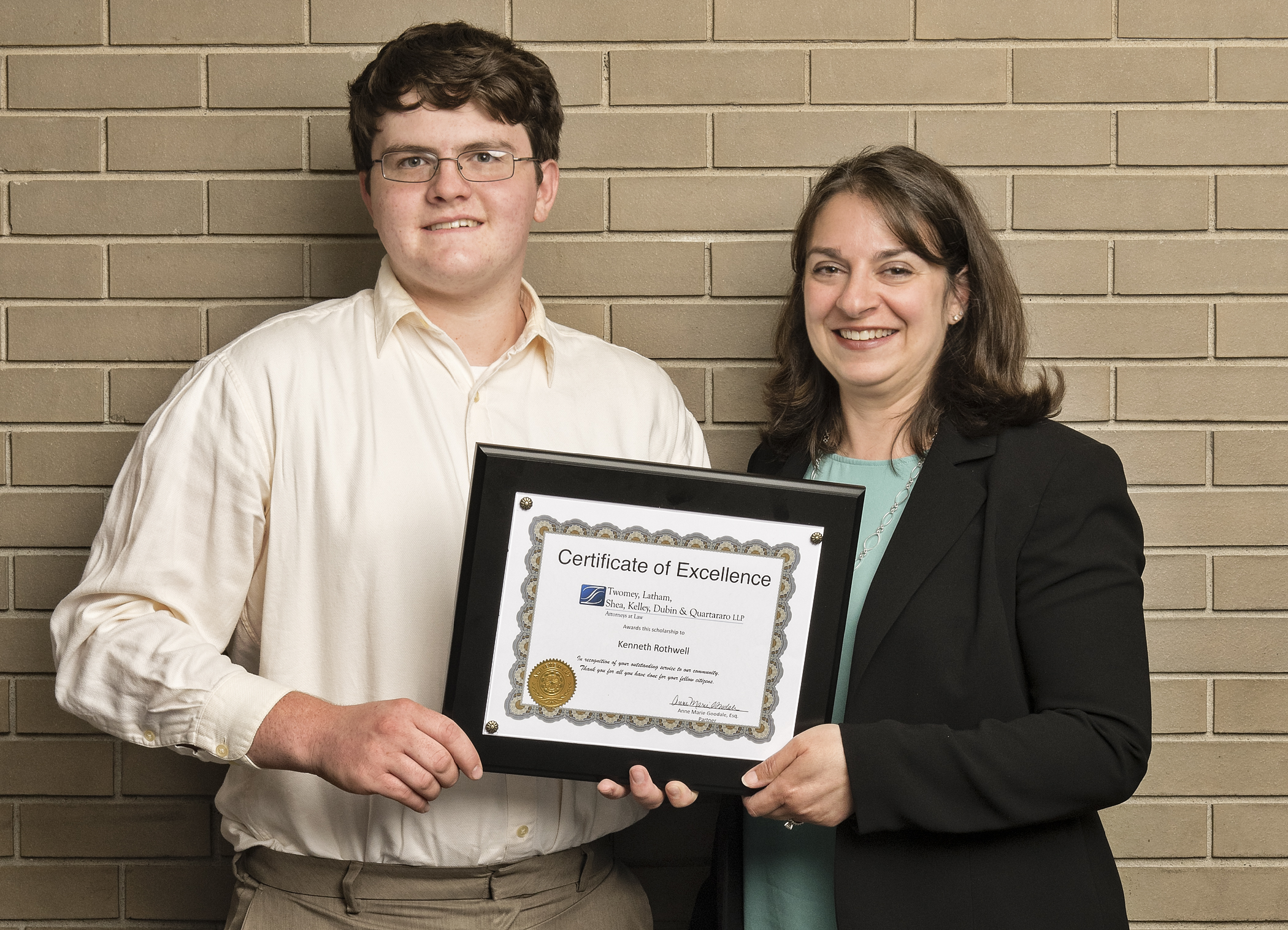 Riverhead high school scholarship recipient Kenneth Rothwell