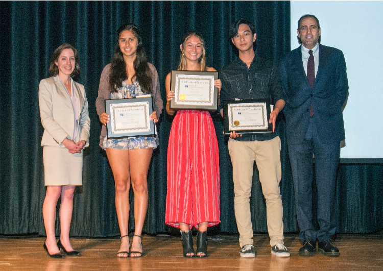 2018 Southhampton high school scholarship recipients, David Dubin and Alexandra Halsey Storch