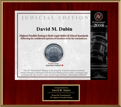 Senior partner David Dubin AV Preeminent Rating Plaque