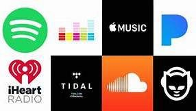 Music streaming services logo, napster, spotify, soundcloud, iheart radio, pandora, apple music, tidal